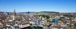 The river Limmat runs through the city of Zurich.